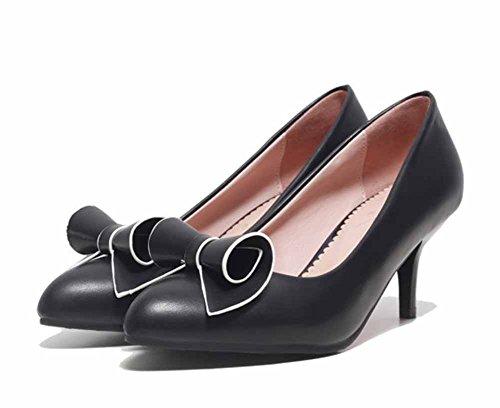 Easemax Mujeres Elegant Bows Pointed Toe Low Top Mid Kitten Zapatos De Tacón Zapatos Negro
