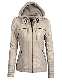 Zantt Women's PU Faux-Leather Zipper Hooded Motorcycle Bomber Jacket Coats