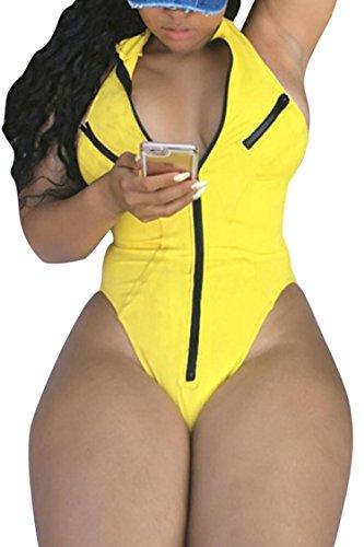 Women's Sexy Deep V Neck Zip Up One - Zipper Bathing Suit