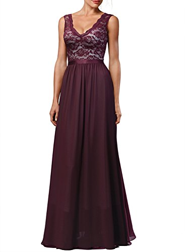 Miusol Women's Retro Deep-V Neck Halter Style Wedding Bridesmaid Maxi Dress,Wine,X-Large by Miusol