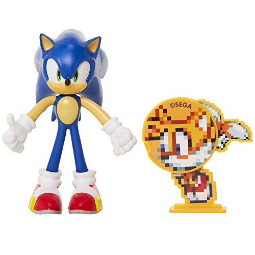 Sonic The Hedgehog Collectible Sonic 4″ Bendable Flexible Action Figure with Bendable Limbs & Spinable Friend Disk Accessory Perfect for Kids & Collectors Alike! for Ages 3+