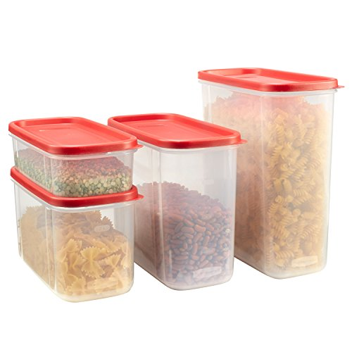 Rubbermaid Modular Food Storage Canisters, Racer Red, 8-Piece Set -