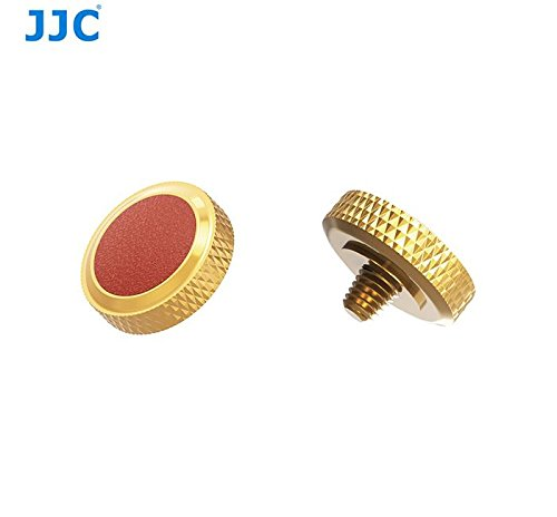 JJC new desgin Gold Brown deluxe Camera Soft Release Button with microfiber leather on surface for Fuji Fujifilm X-T20 X-T10 X-T2 X-PRO1 X100 X100S X100T X30 X20 Sony RX1R RX10 II IV Leica M10 etc