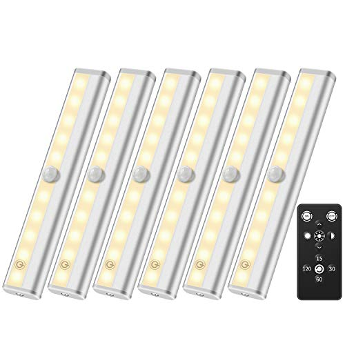 Wireless LED Closet Light Anbock Under Cabinet Light with Remote Control 6 Pack LED Under Cabinet Lighting, Wireless Under Counter Lights Battery Powered Light Night Lights Kitchen Bedroom Light
