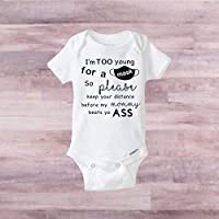 Too young to wear a mask baby bodysuit