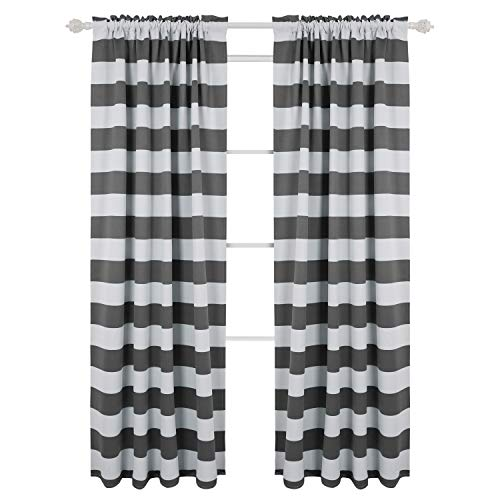 d Blackout Window Curtains Thermal Insulated Grey and Greyish White Striped Curtains for Bedroom 52W X 95L Gray 2 Panels ()
