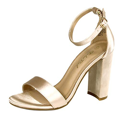 Fabee Rad Open Toe Dress Sandal for Women Bridesmaid Sandal with Adjustable Ankle Band Chunky Heel Pumps for Daily