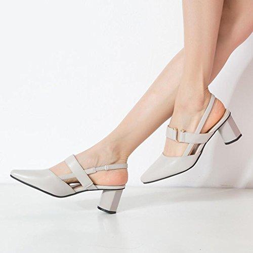 Größe Jingsen Hochhackigen Koreanische Dicke Schuhe 36 Gray Schuhe mit Hohlen Frühling Wies Farbe UUqSrwP