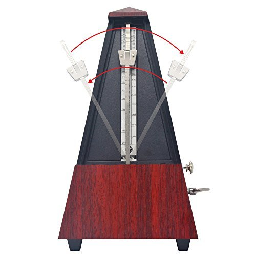 Mechanical Metronome of Tower Bell Ring Pyramid Style with Audible Click for Guitar Bass Piano Violin Banjo Mandolin in Wooden Color