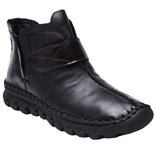 Plates noir Zipé Cuir Cheveille Automne Bottines Style Vogstyle Femme hiver Nouveau Chaussures 2 SHfnX7