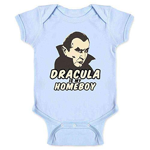 Pop Threads Dracula is My Homeboy Halloween Costume Vampire Light Blue 6M Infant Bodysuit -