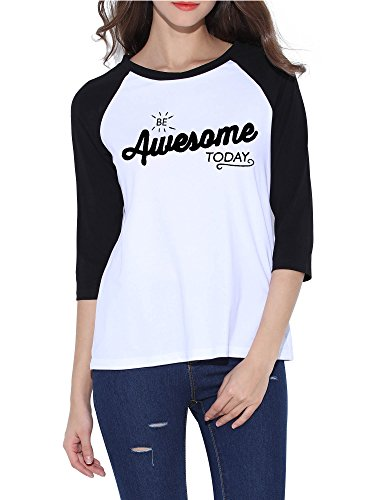 Tee Crewneck Sleeve 3/4 (HUHOT Cotton Crew Neck 3/4 Sleeve Jersey Shirt Baseball Tee Raglan T-Shirts (X-Large, Awesome))