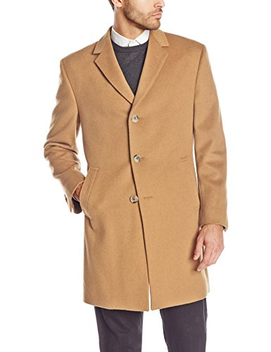 Kenneth Cole New York Men's Kenneth Cole Reaction Raburn 38 Inch Wool Top Coat Single Breasted, Camel, 42/Small