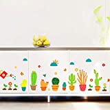 1 Pc Garden Potted Plants Cactus Aloe Living Room Flower Butterfly Bonsai DIY Wall Stickers Lotus Flowers Moon Star Decal Princess Kitchen Jeep Decals First-class Popular Vinyl Art Decor, Type-04