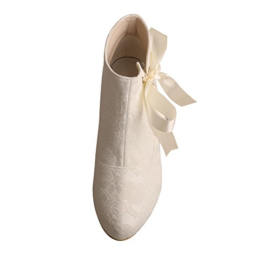 Ivory Short Women's Ankle Wedding Heel MW798 Boots Toe Closed Ribbon Chunky Lace Wedopus Dress qBKI8w58