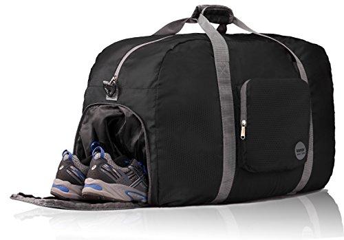 wandf-foldable-travel-duffel-bag-luggage-sports-gym-water-resistant-nylon-26-black