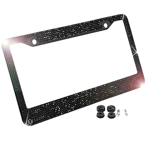 Zone Tech Shiny Bling License Plate Cover Frame - Classic Black Crystal Bling Premium Quality Novelty/License Plate Frame with Mounting Screws -