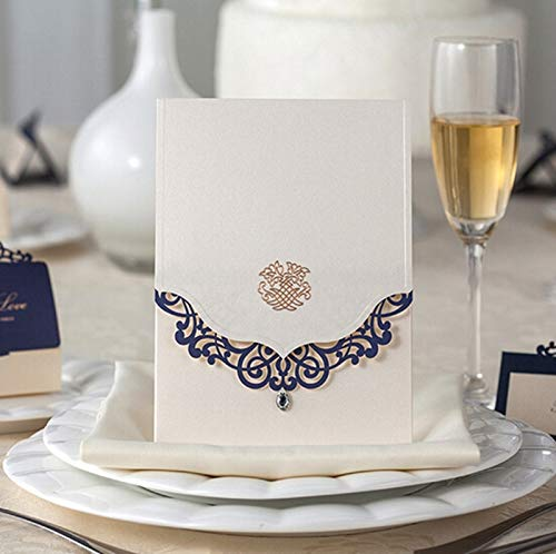 Cards & Invitations - 50pcs Vertical Wedding Invitations Cards Custom with Rhinestone & Blue Laser Cut Flower,Printable/Customizable, CW502 - (Color: Ivory, Size: Blank)