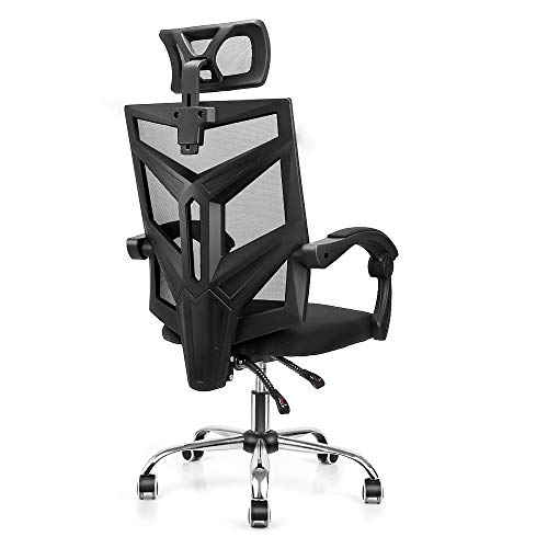 High Back Ergonomic Mesh Office Chair, Home Office Computer Chair Swivel Task Desk Chair with Breathable Seat Cushion, Adjustable Headrest, Seat Height and Armrests – Black