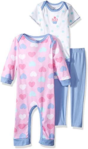 Gerber Baby Girls' 3-Piece Coverall, Bodysuit and Pant Set