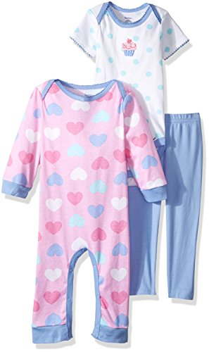 Gerber Baby 3 Piece Coverall, Bodysuit, and Pant Set, cupcake, 3-6 Months