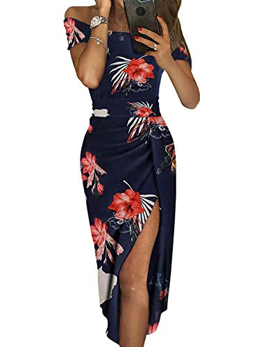 Party Dresses for Women Elegant Evening Prom Gowns Off The Shoulder High Slit Sexy Club Dress Red Floral XL