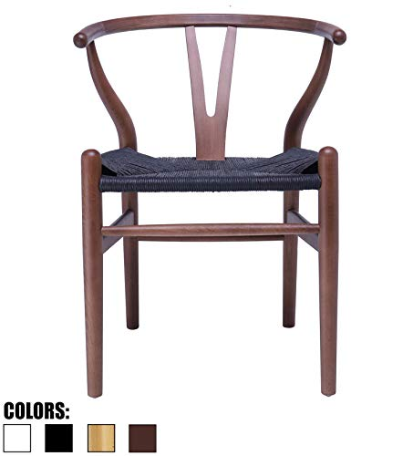 2xhome Espresso Wishbone Wood Armchair with Arms Open Y Back Open Mid Century Modern Contemporary Office Chair Dining Chairs Woven Black Seat Living Desk Office