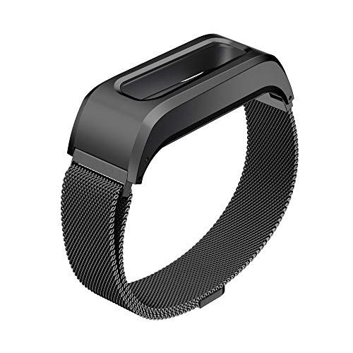 GELISHI Compatible with Fitbit One Replacement Wristband,Accessory Stainless Case + Adjustable Milanese Bracelet Band for Fitbit One Smartwatch(Black-Large,No Tracker)