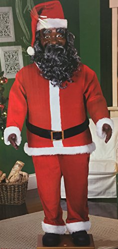 Life Size Animated Dancing African American Black Santa Claus by Gemmy