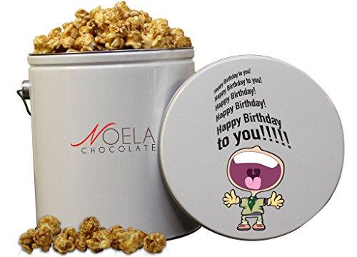 Noela Chocolate Gourmet Popcorn 1 Gallon tin Caramel Happy Birthday Yelling