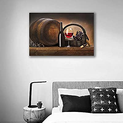 Canvas Wall Art for Living Room,Bedroom Home Artwork Paintings Red Wine Ready to Hang - 24x36 inches