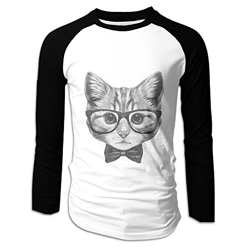 Men's Cat Head With Glasses Casual Novelty Crew Neck Long Sleeve Raglan Baseball Shirt - Glasses Lupe Fiasco
