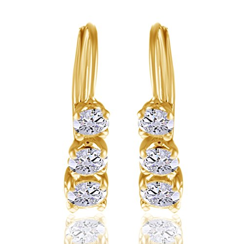 Past Present Future 1 CT 3 Stone Real Diamond Earring 14K Solid Yellow Gold 3/4