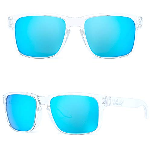 BNUS Italy made Corning Real Glass Lens Polarized Sunglasses for women (Transparent/Blue Flash Polarized, Polarized Size:56mm(M))