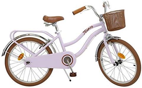 Toimsa Kinderfahrrad Mädchenfahrrad Vintage Bike 20 Zoll rosa   2 Felgenbremsen Korb Gepäckträger
