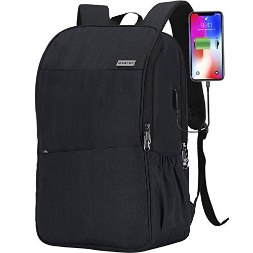 Travel Laptop Backpack with USB Charging Port+Anti-Theft[Water Resistant] College School Bookbag Fits 16 Inch Laptop (BLACK)