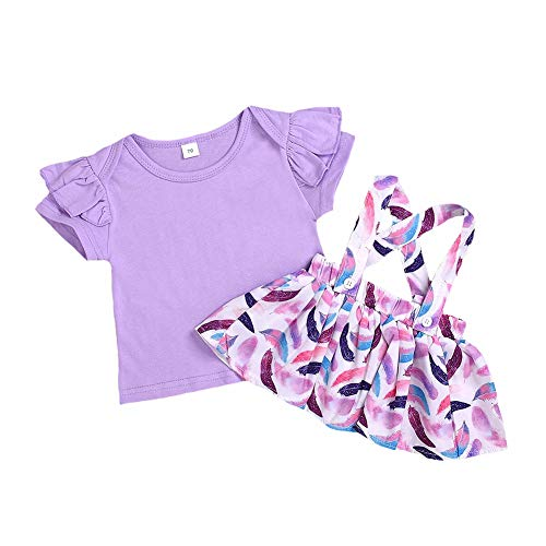Toddler Baby Girl Overall Dress Floral Romper+Suspenders Skirt+Headband Summer Clothes Outfits (70, Lilac) ()