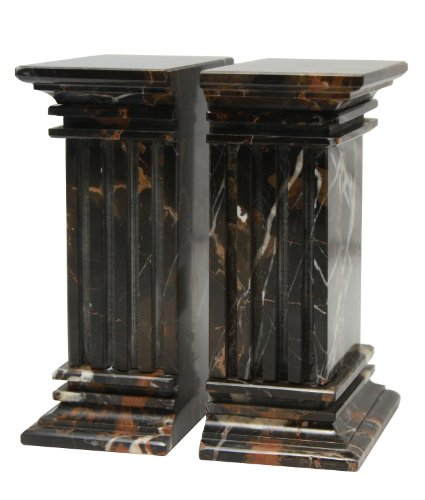 MarbleCrafter Black and Gold Fluted Column Bookends (Column Marble Bookends)