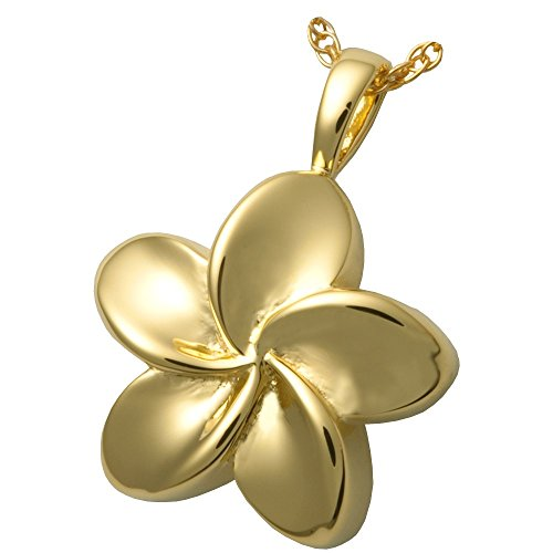 Memorial Gallery MG-3145gp Plumeria Flower 14K Gold/Sterling Silver Plating Cremation Pet Jewelry (Plumeria Clasp Necklace)
