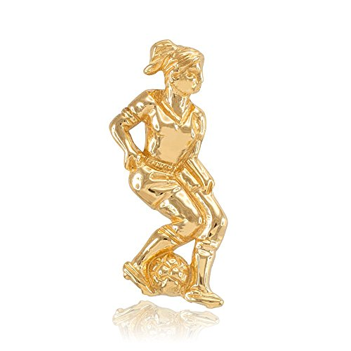 14k Yellow Gold Female Soccer Player Futbol Sports Charm Pendant