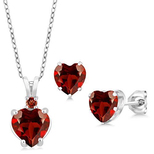 (Gem Stone King 3.69 Ct Heart Shape Red Garnet 925 Sterling Silver Pendant Earrings Set)