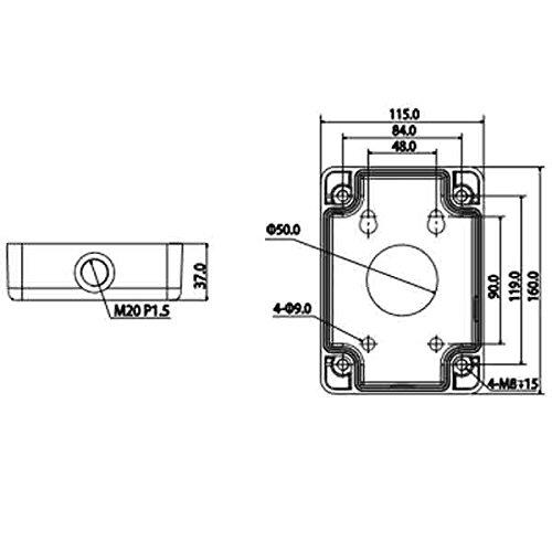 Dahua PFA120 Aluminum Junction Box, Applicable to bracket- PFB300S, PFB300W, PFB301W, 115mm(W) x 160mm(H) x 35mm(D)