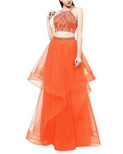 Dress Dress Beaded Evening Orange Two Piece Bridesmay Tulle Dress Long Prom Party wRW0vUq