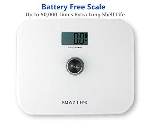 Battery-Free-Scale-SMAZ-LIFE-High-Accuracy-Digital-Bathroom-ScaleStep-on-and-Ultra-Slim-Tempered-Glass-Technology-330-Pounds