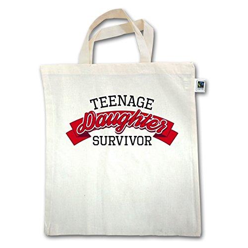 Muttertag - Teenage Daughter Survivor - Unisize - Natural - XT500 - Jutebeutel kurzer Henkel