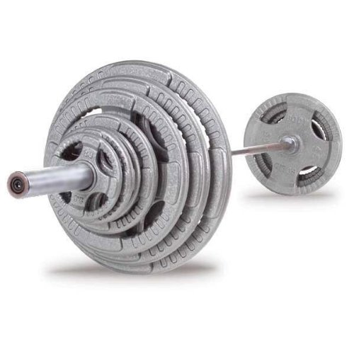 Body Solid OST400S Cast Grip Olympic Set With Chrome Bar