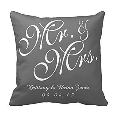Decorpillows Gray & White Mr. and Mrs. Wedding Pillow Cover 18  x 18