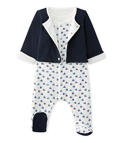 Petit Bateau Unisex-baby Boat Print Sleeveless Footie And Jacket 2 Pice Set, 6M (26 1/2 inches) by Petit Bateau