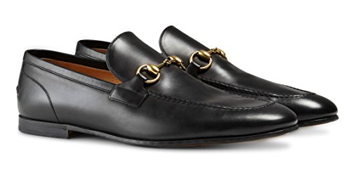 Gucci Mens Jordaan Horsebit Calfskin Leather Loafer, Nero (Black)