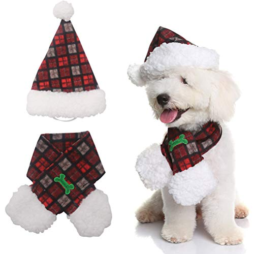 PUPTECK Christmas Dog Hat and Scarf Puppy Costumes Accessories